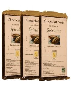 3 tablettes de Chocolat noir  bio aux éclats de Spiruline